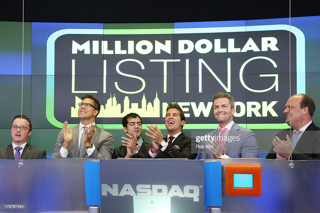 Vice President David Wicks, 'Million Dollar Listing' cast members Fredrik Eklund, Luis D. Ortiz and Ryan Serhant and guests celebrate following the closing bell at NASDAQ MarketSite on July 17, 2013 in New York City.