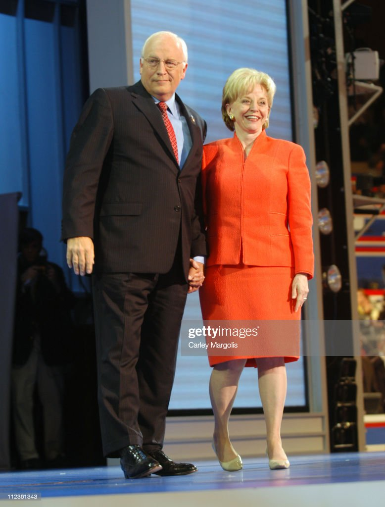 Vice President <a gi-track='captionPersonalityLinkClicked' href=/galleries/search?phrase=Dick+Cheney&family=editorial&specificpeople=125149 ng-click='$event.stopPropagation()'>Dick Cheney</a> and wife <a gi-track='captionPersonalityLinkClicked' href=/galleries/search?phrase=Lynne+Cheney&family=editorial&specificpeople=125192 ng-click='$event.stopPropagation()'>Lynne Cheney</a> during 2004 Republican National Convention - Day 3 - Inside at Madison Square Garden in New York City, New York, United States.