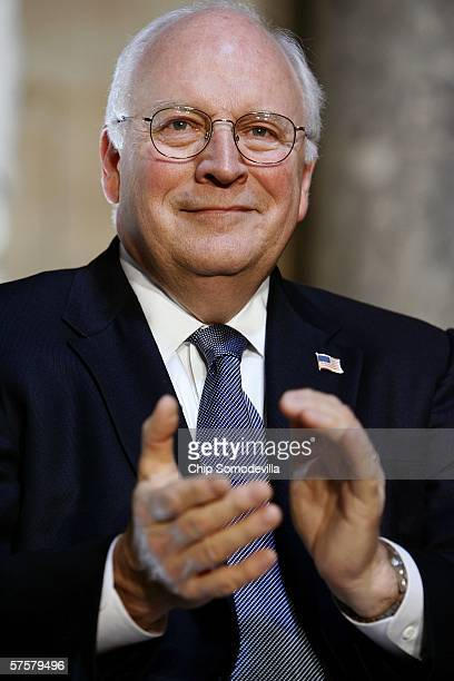 S Vice President Dick Cheney gestures as he attends a ceremony where he was presented with the Distinguished Service Award at the Capitol May 10 2006...