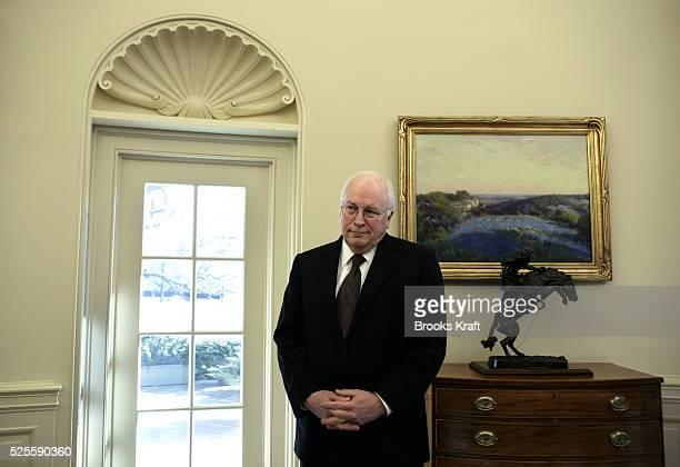 Vice President Dick Cheney listens as US President George W Bush meets Lebanon's parliamentary majority leader Saad alHariri the son of murdered...