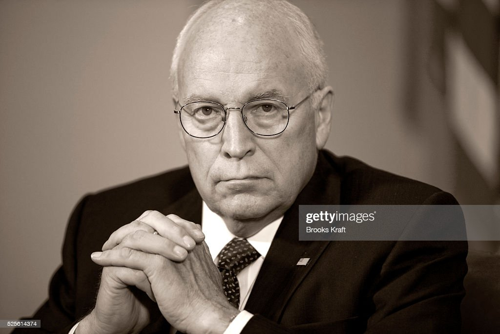 Vice President Dick Cheney listens to US President George W Bush speak about Hurricane Ike at the White House in Washington