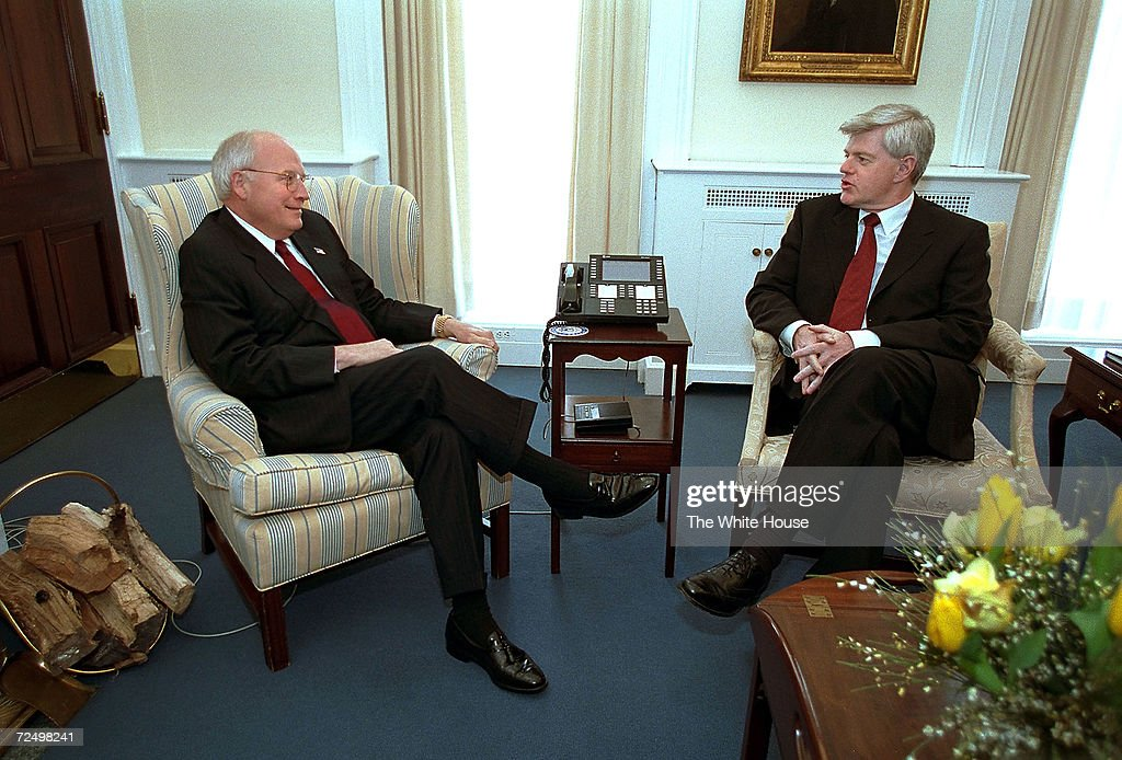 S Vice President Dick Cheney meets with Canadian Deputy Prime Minister John Manley March 8 2002 at Cheneys office at the White House in Washington DC