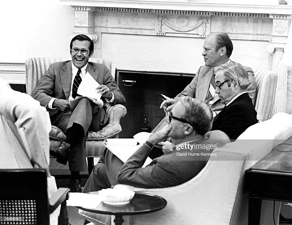 Vice President <a gi-track='captionPersonalityLinkClicked' href=/galleries/search?phrase=Dick+Cheney&family=editorial&specificpeople=125149 ng-click='$event.stopPropagation()'>Dick Cheney</a> photographed from 1975 to 2006 in Washington, DC. Pictured, l-r, is <a gi-track='captionPersonalityLinkClicked' href=/galleries/search?phrase=Donald+Rumsfeld&family=editorial&specificpeople=125152 ng-click='$event.stopPropagation()'>Donald Rumsfeld</a>, Secretary of Defense from 1975-1977 under President <a gi-track='captionPersonalityLinkClicked' href=/galleries/search?phrase=Gerald+Ford&family=editorial&specificpeople=125222 ng-click='$event.stopPropagation()'>Gerald Ford</a>, next to President Ford.