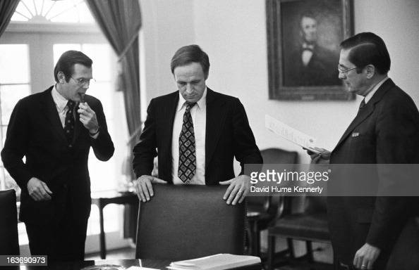 Vice President Dick Cheney photographed from 1975 to 2006 in Washington DC Pictured lr Donald Rumsfeld and Dick Cheney