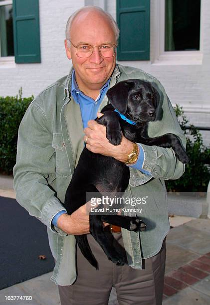 Vice President Dick Cheney photographed from 1975 to 2006 in Washington DC Pictured Cheney and his dog Jackson at the VP residence on October 17 2001