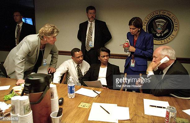 S Vice President Dick Cheney Speaks To President George W Bush By Phone September 11 2001 Inside The Operations Center At The White House After The...