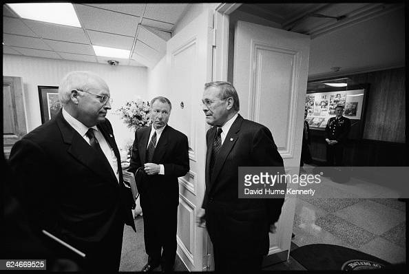 Vice President Dick Cheney with Chief of Staff to the Vice President Scooter Libby and Secretary of Defense Donald Rumsfeld outside the Pentagon...
