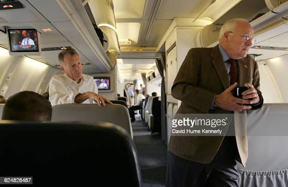 Vice President Dick Cheney with his chief of staff Lewis 'Scooter' Libby behind him aboard Air Force 2 during the last stages of the campaign October...