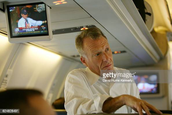 Vice President Dick Cheney's chief of staff Lewis 'Scooter' Libby listens to the Vice President aboard Air Force 2 during the last stages of the...