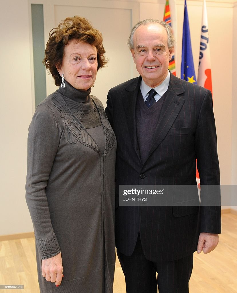 EU Vice President Digital Agenda Neelie Kroes (L) welcomes French's Culture and Communications minister Frederic Mitterrand pose prior to their bilateral meeting at the EU headquarters in Brussels on February 09, 2012.
