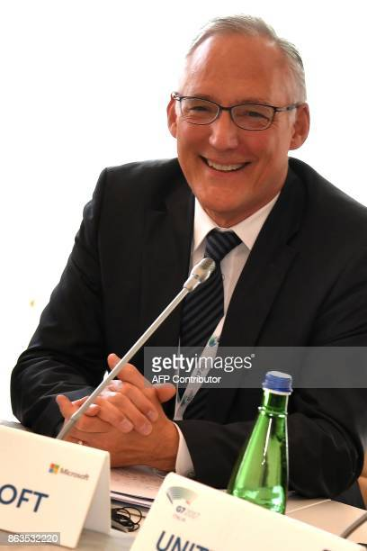 Vice President EU Government Affairs at Microsoft John Franck attends before a working session of the G7 Interior Ministers with European Union...