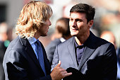 Vice President FC Internazionale Javier Zanetti and Pavel Nedved before the Serie A match between FC Internazionale Milano and Juventus FC at Stadio...