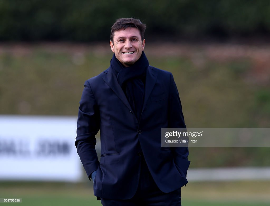 Vice President FC Internazionale <a gi-track='captionPersonalityLinkClicked' href=/galleries/search?phrase=Javier+Zanetti&family=editorial&specificpeople=206966 ng-click='$event.stopPropagation()'>Javier Zanetti</a> smiles during the FC Internazionale training session at the club's training ground at Appiano Gentile on February 12, 2016 in Como, Italy.