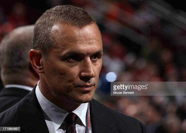 Vice President General Manager Alternate Governor Steve Yzerman of the Tampa Bay Lightning looks on during the 2013 NHL Draft at the Prudential...