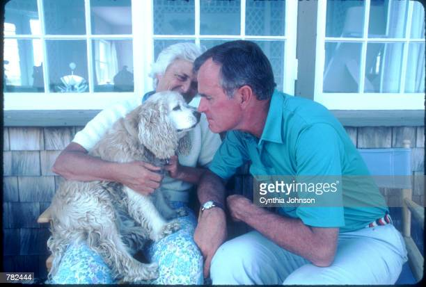 Vice President George Bush sits with his wife Barbara while playing with his dog Fred August 1983 in Kennebunkport ME Bush is vacationing in Maine...