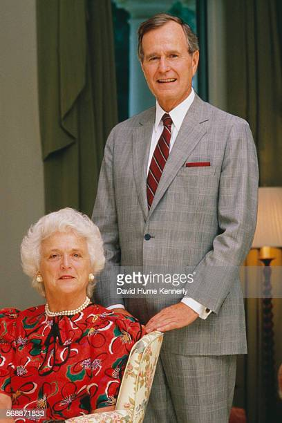 S Vice President George H Bush and Barbara Bush at the Vice President's residence in Washington DC 1983