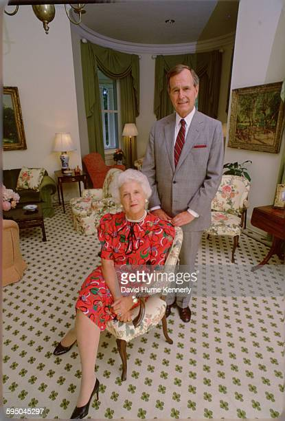 S Vice President George HW Bush and Mrs Barbara Bush at the Vice President's residence circa 1983 in in Washington DC