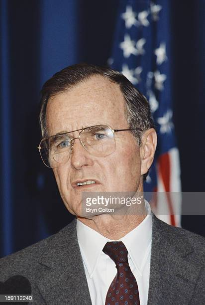 US Vice President George HW Bush at a news conference at Heathrow Airport London following a visit to Britain 12th February 1984