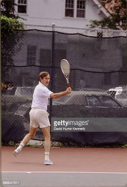 Vice President George HW Bush plays tennis in Washington DC circa 1983