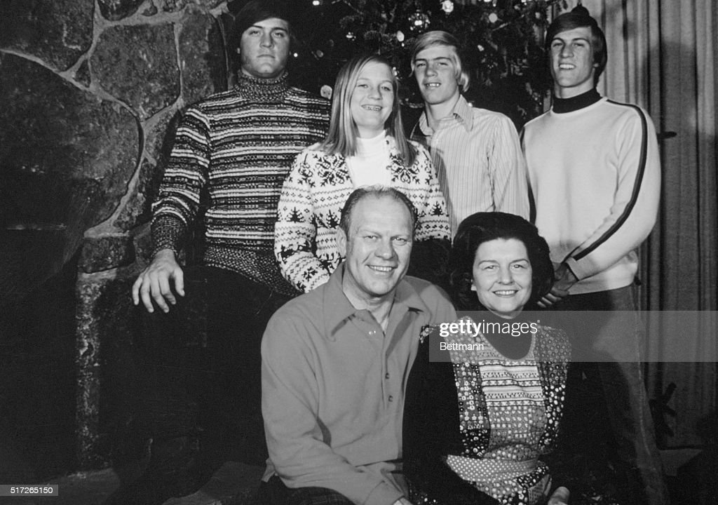 Vice President Gerald Ford and his wife Betty appear with their children at their ski resort home in Vail Colorado during Christmas season 1972 Jack...