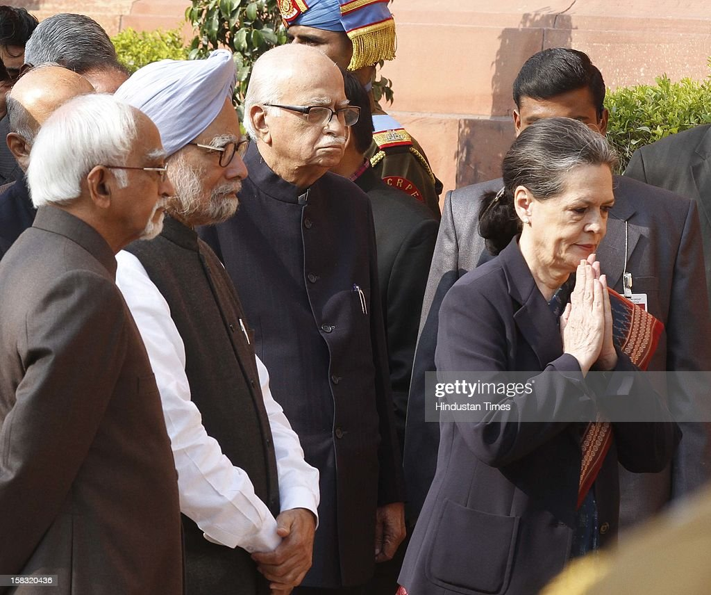 Vice President Hamid Ansari, Prime Minister Manmohan Singh, and BJP Leader LK Advani, Congress Leader Sonia Gandhi and other Politicians pay homage to martyrs during a remembrance ceremony of the 2001 Parliament attack, at Parliament House on December 13, 2012 in New Delhi, India. Politicians gathered to observe the eleventh anniversary of a bloody militant attack on the complex, which left 14 dead on December 13, 2001.