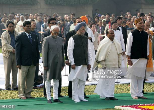 Vice President Hamid Ansari Prime Minister Manmohan Singh Defence minister AK Antony MoS Pallam Raju pay tribute to Mahatma Gandhi on his 62nd death...