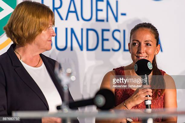 Vice President Hannelore Ratzeburg and Martina Moser of TSG Hoffenheim attends the Allianz Frauen Bundesliga season opening press conference at DFB...