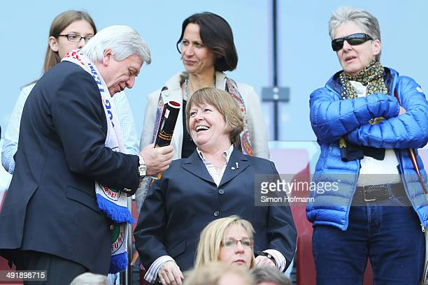 Vice President Hannelore Ratzeburg and Volker Bouffier Prime Minister of German State of Hessen attend the Women's DFB Cup Final between SGS Essen...