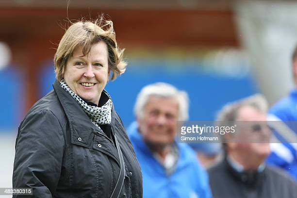 Vice President Hannelore Ratzeburg attends a Germany Women's Training Session at SC Kaefertal Training Ground on April 8 2014 in Mannheim Germany