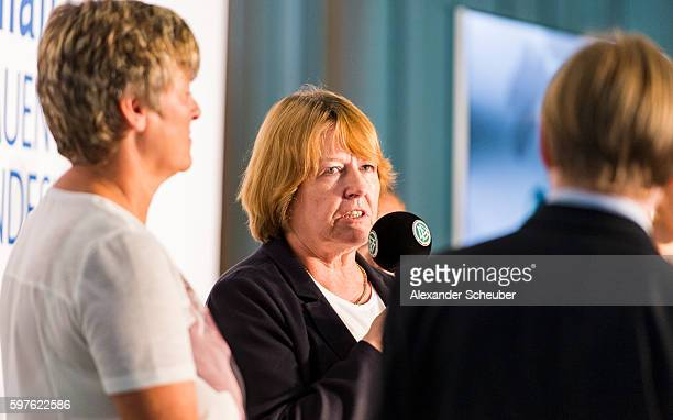 Vice President Hannelore Ratzeburg attends the Allianz Frauen Bundesliga season opening press conference at DFB Headquarter on August 29 2016 in...