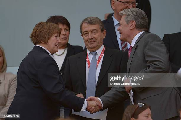 Vice President Hannelore Ratzeburg DFB president Wolfgang Niersbach and German Federal President Joachim Gauck attend the Women's DFB Cup Final...