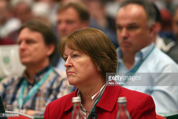 Vice President Hannelore Ratzeburg during day 1 of the DFB Youth Symposium at Hilton Hotel on February 26 2016 in Frankfurt am Main Germany