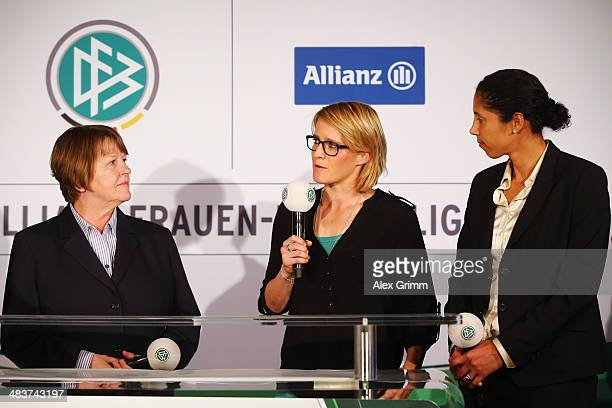 Vice President Hannelore Ratzeburg Saskia Bartusiak and DFB director Steffi Jones attend a press conference on the future of the German women's...