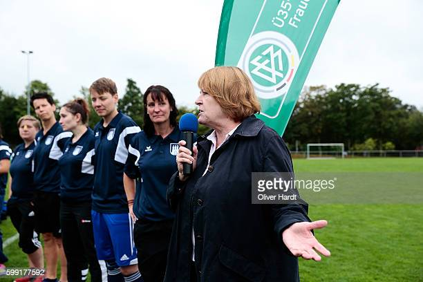 Vice President Hannelore Ratzeburg speaks at the ceremony during the DFB Women's Over35 Cup 2016 at Day 02 on September 4 2016 in Hamburg Germany