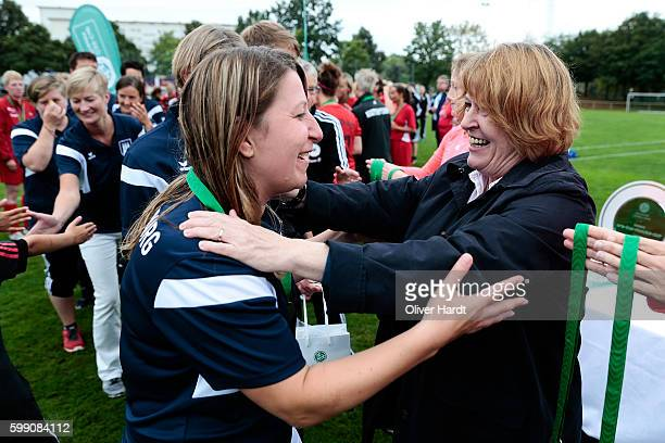 Vice President Hannelore Ratzeburg to hand over the medal to Player of Niendorf TSV after the DFB Women's Over35 Cup 2016 at Day 02 on September 4...