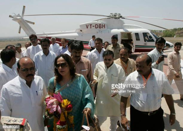 Vice president Hema Malini arrives at Jalgoan for BJP state Convention held in Jalgoan on Sunday