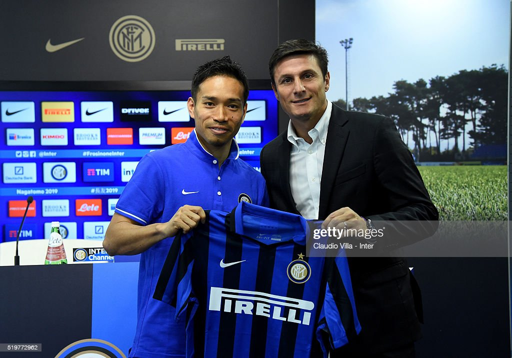 Vice President Javier Zanetti (R) and Yuto Nagatomo of FC Internazionale pose for a photo prior to the press conference at the club's training ground at Appiano Gentile on April 8, 2016 in Como, Italy.