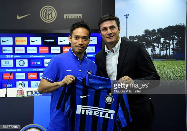 Vice President Javier Zanetti and Yuto Nagatomo of FC Internazionale pose for a photo prior to the press conference at the club's training ground at...