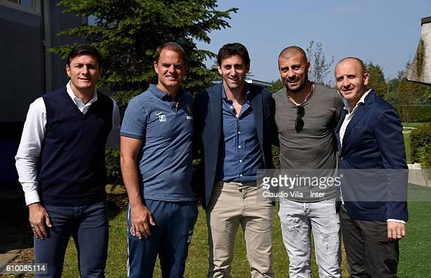 Vice President Javier Zanetti head coach FC Internazionale Frank de Boer Diego Milito Walter Samuel and Sporting Director Piero Ausilio pose for a...