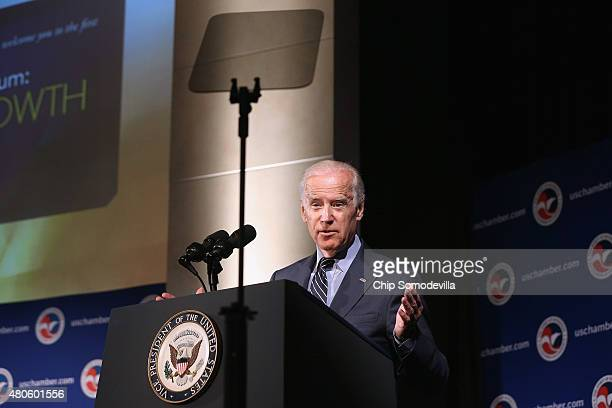 S Vice President Joe Biden address a USUkraine business forum at the US Chamber of Commerce July 13 2015 in Washington DC The conference titled...