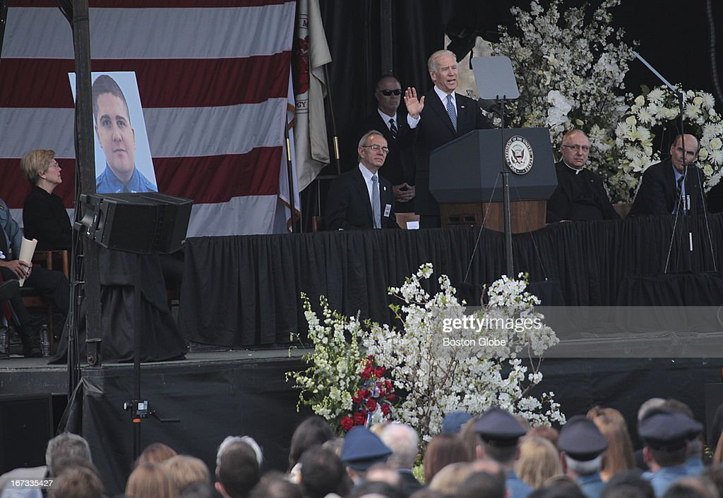 Vice President Joe Biden addresses the crowd during the memorial service for MIT police officer Sean Collier, at Briggs Field, on the MIT campus. Collier was killed during a shootout with the Boston Marathon bombing suspects.