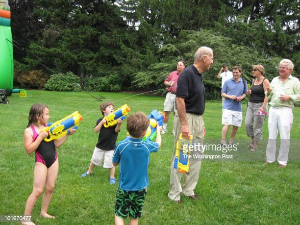 Vice President Joe Biden after his wife Jill launched a super soaker attack at the Naval Observatory in Washington DC on June 5 2010