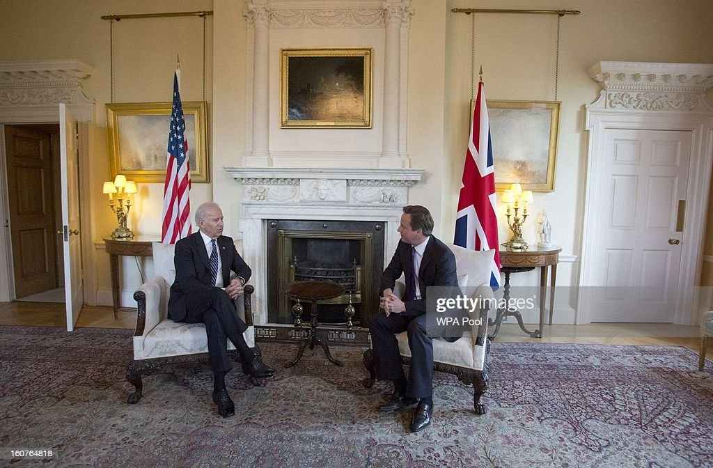 US Vice President Joe Biden and British Prime Minister <a gi-track='captionPersonalityLinkClicked' href=/galleries/search?phrase=David+Cameron+-+Politician&family=editorial&specificpeople=227076 ng-click='$event.stopPropagation()'>David Cameron</a> pose prior to their meeting in Downing Street on February 5, 2013 in London, England. Mr Biden met with Deputy Prime Minister Nick Clegg and Prime Minister <a gi-track='captionPersonalityLinkClicked' href=/galleries/search?phrase=David+Cameron+-+Politician&family=editorial&specificpeople=227076 ng-click='$event.stopPropagation()'>David Cameron</a> during his visit to the UK, as part of a wider European tour.