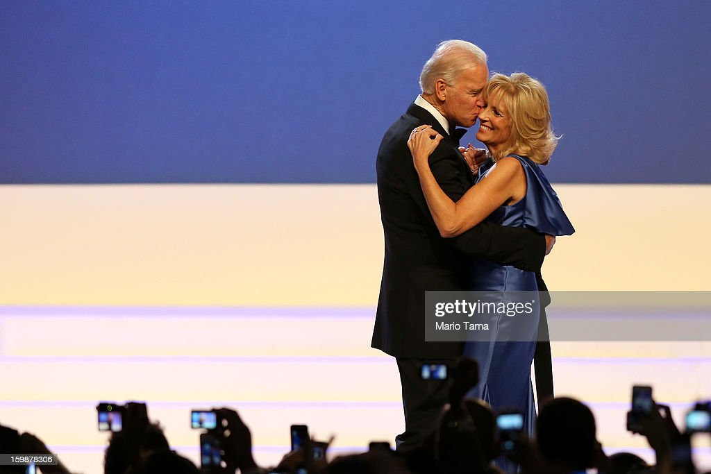 U.S. Vice President Joe Biden and Dr. <a gi-track='captionPersonalityLinkClicked' href=/galleries/search?phrase=Jill+Biden&family=editorial&specificpeople=997040 ng-click='$event.stopPropagation()'>Jill Biden</a> dance during the Public Inaugural Ball at the Walter E. Washington Convention Center on January 21, 2013 in Washington, DC. President Obama was sworn in for his second term earlier in the day.