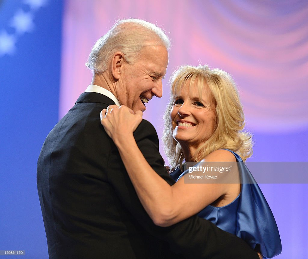 U.S. Vice President Joe Biden and Dr. <a gi-track='captionPersonalityLinkClicked' href=/galleries/search?phrase=Jill+Biden&family=editorial&specificpeople=997040 ng-click='$event.stopPropagation()'>Jill Biden</a> dance together during The Inaugural Ball at the Walter E. Washington Convention Center on January 21, 2013 in Washington, United States.