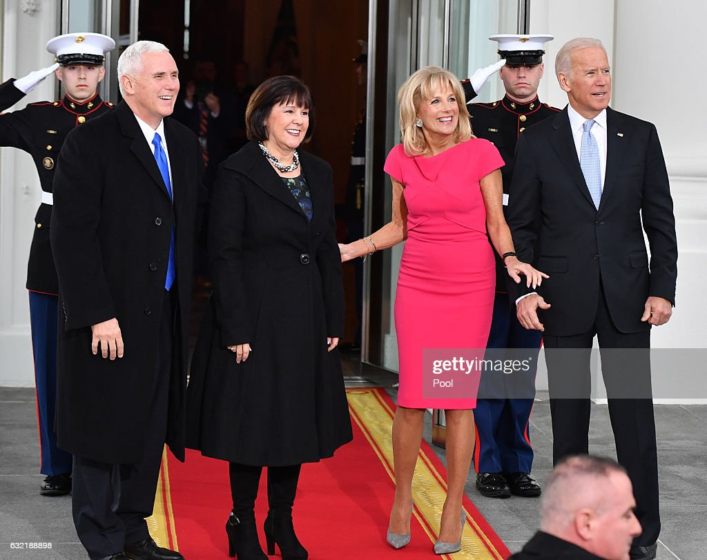 Vice President Joe Biden (R) and Dr. Jill Biden pose with Vice President-elect Mike Pence and wife Karen Pence at the White House before the inauguration on January 20, 2017 in Washington, D.C. Donald Trump becomes the 45th President of the United States.