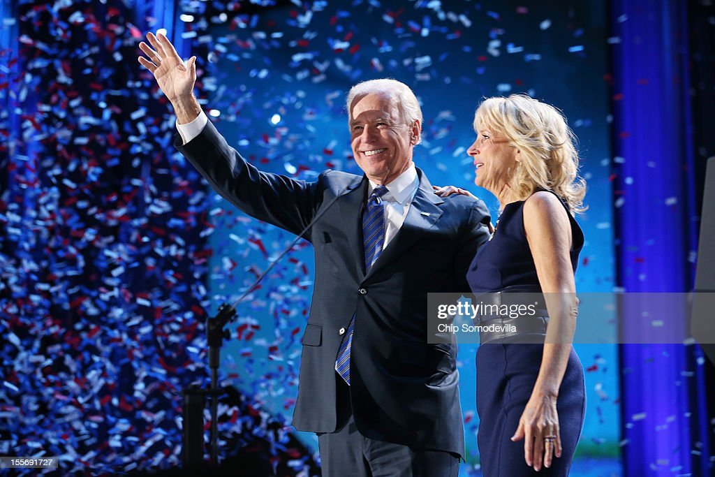 U.S. Vice President Joe Biden and Dr. <a gi-track='captionPersonalityLinkClicked' href=/galleries/search?phrase=Jill+Biden&family=editorial&specificpeople=997040 ng-click='$event.stopPropagation()'>Jill Biden</a> stand on stage after the victory speech by U.S. President Barack Obama on election night at McCormick Place November 6, 2012 in Chicago, Illinois. Obama won reelection against Republican candidate, former Massachusetts Governor Mitt Romney..