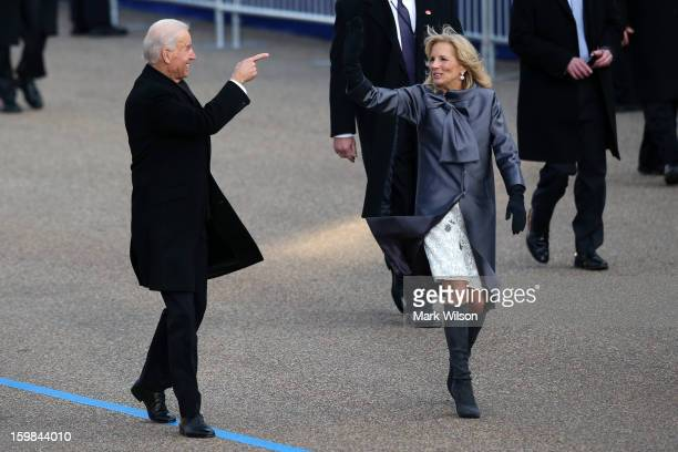 S Vice President Joe Biden and Dr Jill Biden walk the route as the presidential inaugural parade winds through the nation's capital January 21 2013...