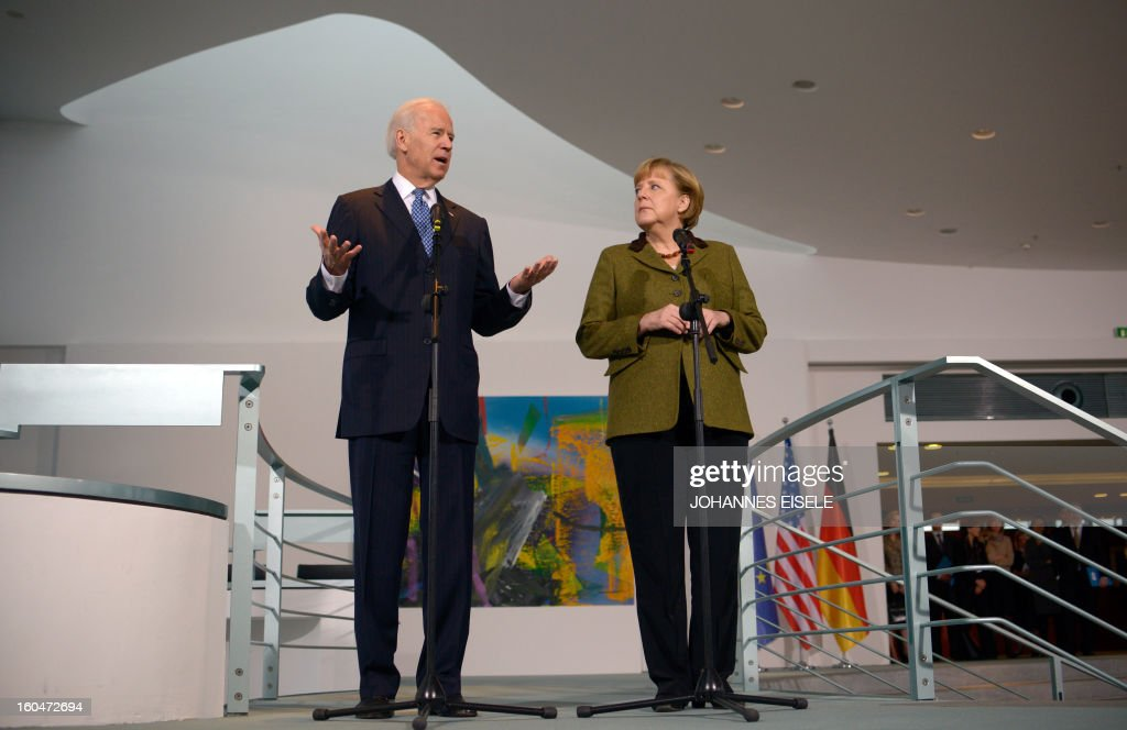 US Vice President Joe Biden and German Chancellor Angela Merkel (R) address journalists at the chancellery in Berlin on February 1, 2013. Biden is in Germany for talks with the German chancellor ahead of the Munich Security Conference. World leaders, ministers and top military brass attend three days of talks at the Munich Security Conference amid a US warning to Iran over stalled nuclear talks.