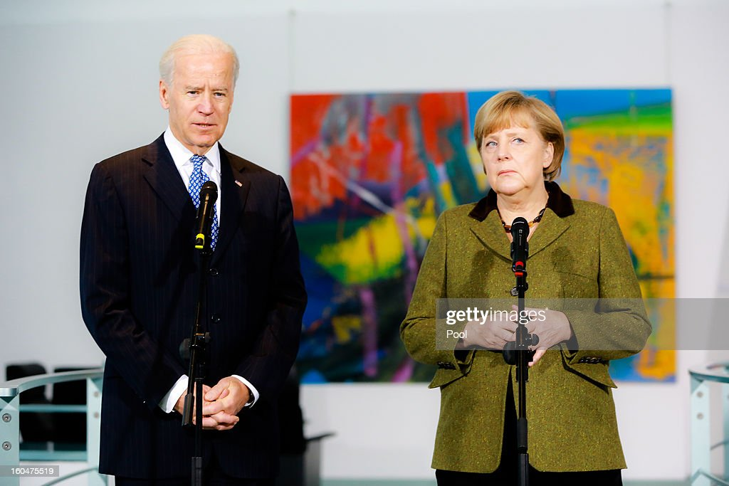 U.S. Vice President Joe Biden and German Chancellor Angela Merkel speak to the media prior to talks at the Chancellery on February 1, 2013 in Berlin, Germany. The two are meeting ahead of the Munich Security Conference, which takes place from February 1-3.